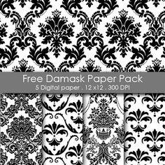 Free Printable Damask Paper Pack
