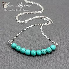 Delicate Turquoise Necklace, Sterling Silver Turquoise Necklace, Turquoise Layered Necklace, Natural Turquoise Necklace, Mother Necklace - Wedding nacklaces (*Amazon Partner-Link)