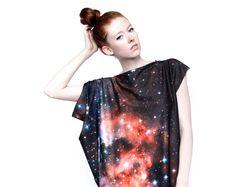 Crimson Galaxy Print Dress. $175.00, via Etsy.