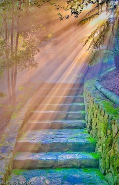 Colorful stone steps scene with sun rays