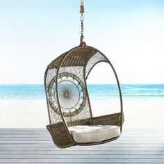 Pier 1 Imports Swingasan Dreamcatcher Hanging Chair ($290) ❤ liked on Polyvore featuring home, outdoors, patio furniture, hammocks & swings, outdoor hanging chair and pier 1 imports