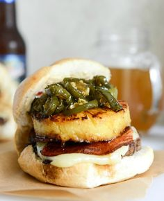 bacon pineapple burgers with candied jalapeños and sweet chili mayo I howsweeteats.com
