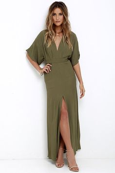 Where the Wind Blows Olive Green Maxi Dress