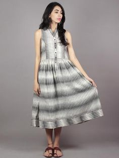 Grey Ivory Handwoven Ikat Cotton Sleeveless Dress With Princess Line & Side Pockets - Ikkat Dresses, Maxi Gowns, Maxi Outfits, Fashion Outfits, Women's Fashion, Princess Line, Frock For Women, Buy Dresses Online, Asymmetrical Dress