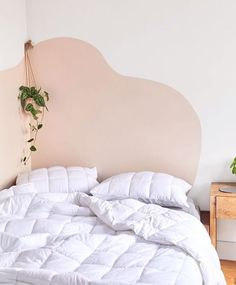 Urban Outfitters Home Now Sells Backdrop Paint - - Urban Outfitters Home dropped a new campaign with paint company Backdrop and the editorial spread features a genius faux headboard hack. Painted Headboard, Bedroom Decor, Room Makeover, Home, Bedroom Inspirations, Bedroom Design, Home Decor, Room, Bedroom Wall