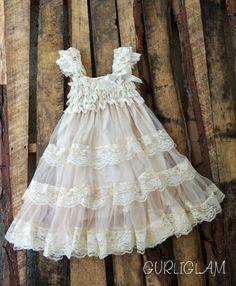 Lace Flower Girl Dress-Champagne flower girl dress-Long Petti Lace Dress-Girls Birthday Dress- Flower Girl Dress- Shabby Chic dress on Etsy, $39.98