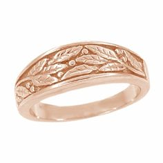 Carved Olive Leaves Mens Tapered Ring in 14K White Gold 68mm Wide