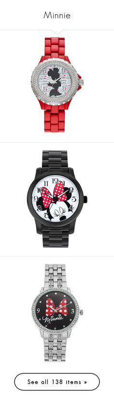 """""""Minnie"""" by allyssister ❤ liked on Polyvore featuring jewelry, watches, disney, red, disney watches, crystal watches, bezel watches, disney jewelry, black and stainless steel watches"""