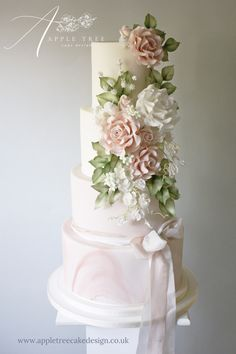 'Constance' Blush pink and white wedding cake decorated with blush pink white and sage green sugar flowers - roses lavender hydrangea sweet peas and bouvardia - with a marble effect bottom tier and silk ribbons. Blush Wedding Cakes, Wedding Cake Fresh Flowers, White Wedding Flowers, Cool Wedding Cakes, Beautiful Wedding Cakes, White Flowers, White Roses, Wedding Cake White, Purple Wedding