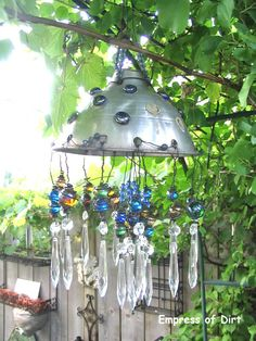 5. Make a fabulous garden art chandelier from thrift shop finds | Community Post: 17 Charming Garden Art DIYs