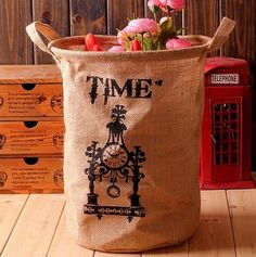 Aliexpress.com : Buy Free Shipping! Linen Home Storage Bag Sundries Basket Time Design Multi use Fabric Flower Bucket Hot Selling! from Reliable home storage bag suppliers on Viviwood Art & Gift $9.50
