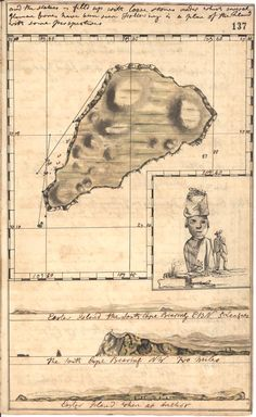 Easter Island, from J. Gilbert's log on the HMS Resolution, 1773.