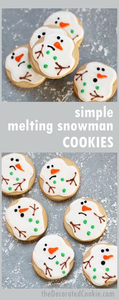How to decorate simple melting snowman cookies! From the blog/creator of the original, first-ever melting snowman cookie.