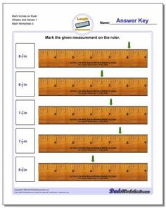 Measurement worksheets for identifying specific points on an imperial inch ruler including whole inch units and fractional inch units. Free printable PDF worksheets with answer keys! Math Coloring Worksheets, First Grade Math Worksheets, Measurement Worksheets, Free Printable Math Worksheets, Science Worksheets, Sequencing Worksheets, Nouns Worksheet, Third Grade Math, Capacity Worksheets