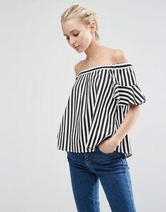 ASOS | ASOS Satin Off Shoulder Top In Stripe