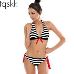 TQSKK 2017 New Bikinis Women Swimwear  Plaid Stripe Halter Top Push Up Swimsuits Female Summer Beachwear Bathing Suits Biquini