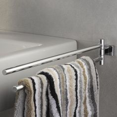 Essentials Cube Double 45cm Wall-Mounted Towel Rail Grohe Wall Mounted Towel Rail, Free Standing Towel Rack, Double Towel Rail, Homestead Living, Home Additions, Towel Holder, Basin, Cube, Chrome