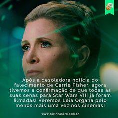 regram @coxinhanerd #CoxinhaNews Poderemos nos despedir lindamente... #TimelineAcessível Após a desoladora notícia do falecimento de Carrie Fisher agora tivemos a confirmação de que todas as suas cenas para Star Wars VIII já foram filmadas! Veremos Leia Organa pelo menos mais uma vez nos cinemas!   TAGS: #coxinhanerd #nerd #geek #geekstuff #geekart #nerd #nerdquote #geekquote #curiosidadesnerds #curiosidadesgeeks #coxinhafilmes #filmes #movies #cinema #cinefilos #euamocinema #adorocinema…