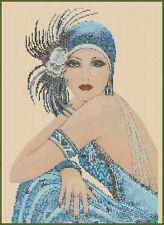 Cross Stitch ART DECO FLAPPER LADY in Blue No. 29b
