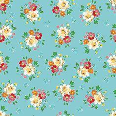 Riley Blake ~ Backyard Roses ~ Main Blue