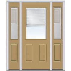Milliken Millwork 64.5 in. x 81.75 in. Classic Clear RLB Glass 1/2 Lite 2 Panel Painted Majestic Steel Exterior Door with Sidelites, Sandal