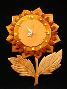 Hand Carved Wood Art Intarsia SUNFLOWER Wall by MyHeritageUSA