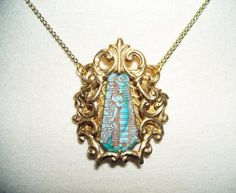 EGYPTIAN REVIVAL Necklace Pendant Art Deco CZECH Glass Stone