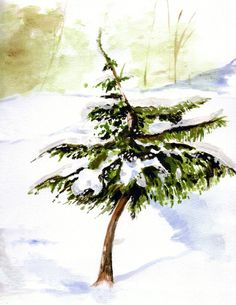 winter snowy tree watercolor print by ArtistStephanieKriza on Etsy