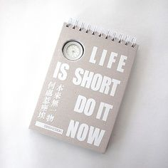 Gadgets cool notepad with inspirational words and clock watch