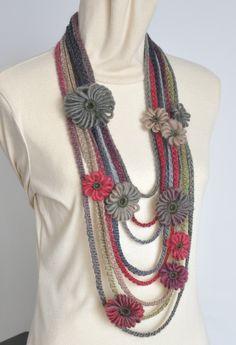 Memory- Multicolor Multistrand Loom Flower Bib Necklace by jennysunny on Etsy Crochet Flower Scarf, Crochet Scarves, Crochet Shawl, Crochet Flowers, Loom Flowers, Crochet Necklace Pattern, Knitted Necklace, Crochet Earrings, Scarf Jewelry