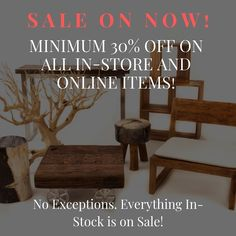 Our biggest sale of the year is on until December 2nd. Save minimim 30% off on all in-store and online items. No exceptions- Everything is on sale!! Plus enjoy Double Discounts on clearance items reduced by upto 70% off plus an additional 30% discount. Online shoppers use promo code 30ZENY #getitwhileyoucan #sale #storewidesavings #shopnow #shoponline #furnituresale #rusticfurniture #rusticdecor #giftideas #interiordesign #interiordecor #torontodesigners #gta #toronto #vaughan #leslieville… Furniture Sale, Rustic Furniture, Interior Decorating, Interior Design, Sale On, Gta, Rustic Decor, Everything, Toronto