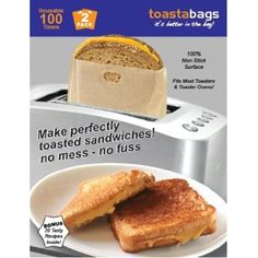 """Genius!-Toastabags Reusable Non-Stick  Sandwich/Snack """"In Toaster"""" Grilling Bags, 2 Pack $6.11"""