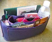 Handbag insert in purple leather, $82