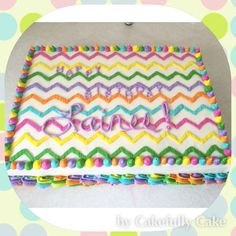 Chevron Sheet Cake -from Cakefully Cake