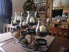 dining room centerpiece--->mini hurrican candle holders with hazelnut coffee beans && vanilla candles smells sooooooo GOOD :)♥