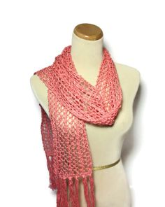 Coral Beauty Scarf Knit Scarf Hand Knit Scarf by ArlenesBoutique, $50.00