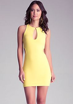 Open Net Cutout Yellow Dress