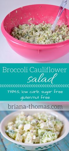 Broccoli Cauliflower Salad...THM:S, low carb, sugar free, gluten/nut free
