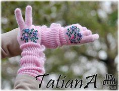 """Купить Длинные перчатки с вышивкой """"Нежно-розовые 2"""" - бледно-розовый, перчатки, перчатки женские"""