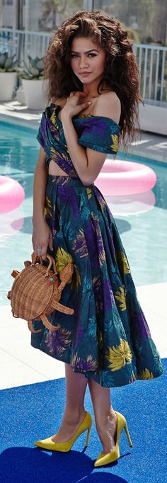 Floral Maxi Dress#Love this look by Zendaya#One thing about this chic, she knows how to dress
