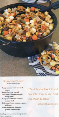 Scarecrow crunch - full and easy snack mix for Halloween. We added little Halloween colored gummy worms too! Hallowen Food, Halloween Snacks, Halloween Parties, Halloween Candy, Fall Halloween, Halloween Trail Mix Recipe, Halloween Scarecrow, Happy Halloween, Halloween Goodies