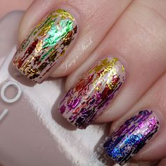Rainbow nail art with Zoya Kennedy and mylar foil