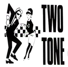"""2 TONE Logo with ska dancers (Black and White) STICKER / DECAL (4.25"""" x 4.25"""") - $1.99 - 1-CST-13126"""