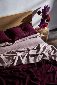 Looking for warm, romantic styling ideas for your bedroom? Layer our linen sheets in bold hues like Ruby and Lavender. Red Bedding, King Bedding Sets, Linen Bedding, Linen Bedroom, King Comforter, Comforter Sets, Bedroom Red, Home Decor Bedroom, Bedroom Ideas