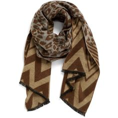 Women's La Double 7 Leopard & Chevron Scarf (223.210 IDR) ❤ liked on Polyvore featuring accessories, scarves, khaki, polka dot scarves, knit shawl, zig zag scarves, chevron scarves and knit scarves