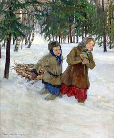 Nikolai Bogdanov-Belsky (Russian 1868–1945) [Realism, Impressionism] Children carrying the Wood in the Snow, Winter.