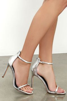 Put together all your favorite outfits with the Keen Eye Silver Ankle Strap Heels! Metallic silver vegan leather shapes a padded toe band and ankle strap. back zipper. Silver Heels Prom, Prom Heels, Silver Shoes, Silver 3 Inch Heels, Metallic Heels, Silver Ring, Stilettos, Pumps Heels, Stiletto Heels