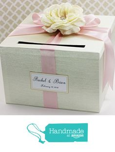 Wedding Card Box Money Holder Cream Ivory And Light Pink With Rose Customizable From Little
