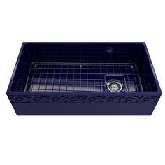 "Bocchi Vigneto 36"" Blue Fireclay Single Bowl Farmhouse Sink w/ Grid, #36ampquot #Blue #Bocchi #Bowl #Farmhouse #Fireclay #Grid #Single #Sink #Vigneto"