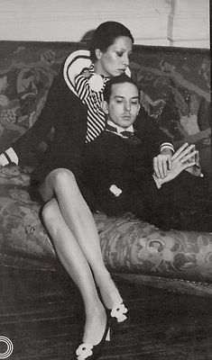 Designer Miss Elsa Peretti whose silver bone cuff has been a classic of Tiffany stores for 50 years, and Fred Hughes who managed business for Andy Warhol.